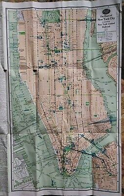 Vintage 1926 New York Central Line Railroad Brochure City Map Colorful Frameable