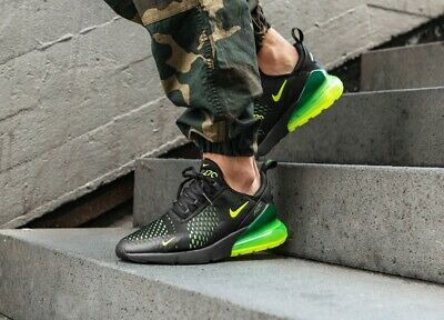 new arrival e585d 173dd Nike Air Max 270 Black Volt Yellow Green Mens Sneakers Trainers Shoes UK 6  - 13