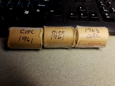 1961 & 1963 circulated british penny rolls