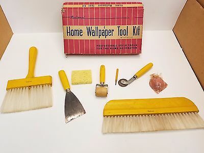 """Vintage National """"Deluxe"""" Wallpaper Hanging Tool Kit New Old Stock Free Shipping"""