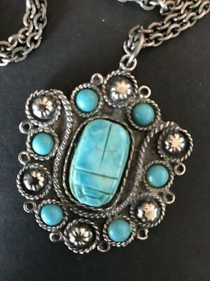 Old Egyptian Amulet Necklace on Chain …beautiful accent piece
