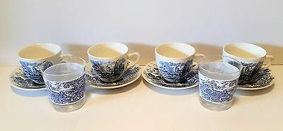 Vintage Wedgewood Countryside Blue and White Cups & Saucers with Glasses