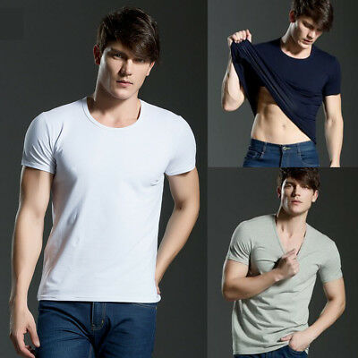 Mens Cotton T-shirt Short Sleeve Basic Tee Solid Plain Shirts Casual Tops Slim
