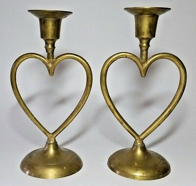 """Vintage Pair of Solid Brass Heart Candle Holders 7"""" High"""