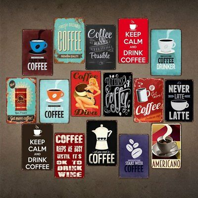 New Coffee Art Vintage Tin Sign Bar Pub Cafe Store Home Wall Decor Metal Poster
