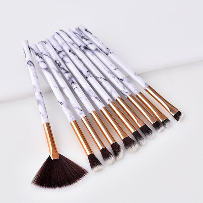 Fashion 10pcs Marble Cosmetic Makeup Brush Blusher Eye Shadow Brushes Set JM79
