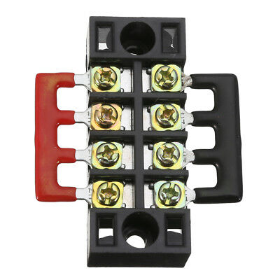 600V 15A 4 Position Double Row Wire Barrier Terminal Block + 2 Connector Strips