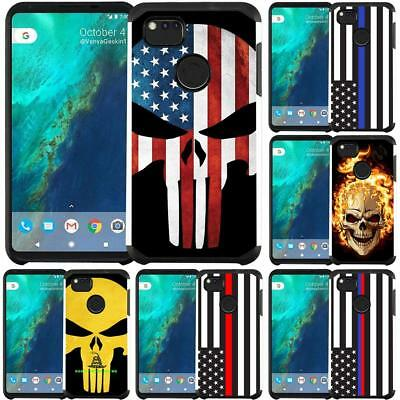Slim Hybrid Armor Case Thin Blue Line US Flag Skull Design for Google Pixel 2 XL
