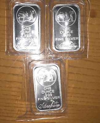 SilverTowne Logo 1oz .999 Fine Silver Bar LOT OF 3 -SEALED FROM REFINERY