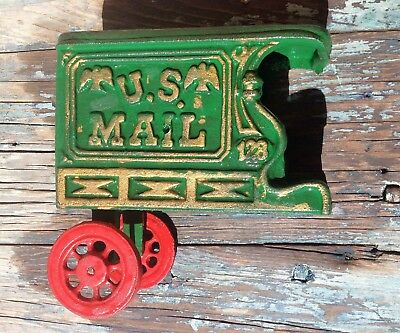 VINTAGE CAST IRON US MAIL GREEN TOY TRUCK WAGON w/ TWO RED WHEELS, NO HORSES