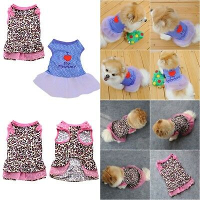 US Female Pet Dog Cat Tutu Dress Lace Skirt Small Puppy Princess Clothes New