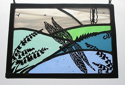 Stained Glass Dragonfly Flying Over English Countryside and Bluebells. Hand Made
