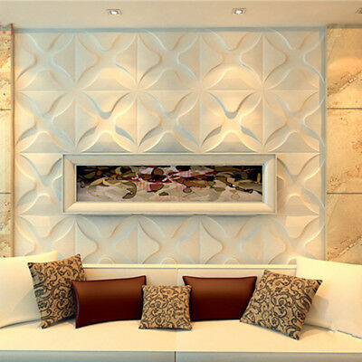 White 3D Wall Panels Livingroom Signboard Background Wall Art DIY Decor Paneling