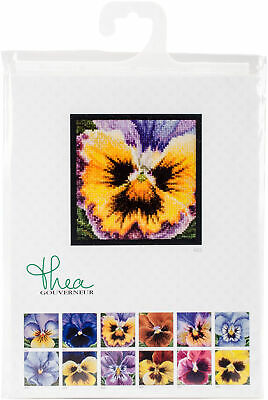 "Thea Gouverneur Pansy On Aida Counted Cross Stitch Kit-3.75""X3.75"" 18 Count"