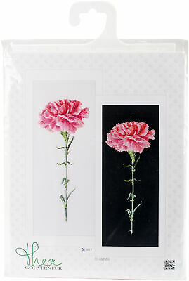 "Thea Gouverneur Carnation Pink On Aida Counted Cross Stitch Kit-6.5""X16.5"" 18 Co"
