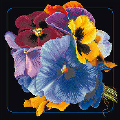 "Thea Gouverneur Pansies On Aida Counted Cross Stitch Kit-13.25""X13.25"" 18 Count"