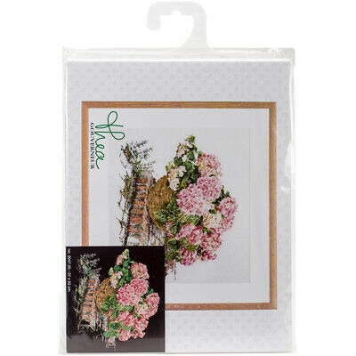 "Thea Gouverneur Pink Hydrangea On Aida Counted Cross Stitch Kit-14.5""X12.75"" 18"