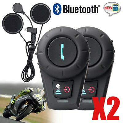 2xBT NeUe Helmet Bluetooth Headset Motorbike Intercom Headset 500M HOT