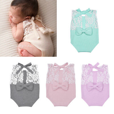 Newborn Baby Photography Prop Baby Stretch Lace Props Romper Knit Dainty Romper