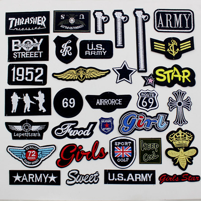Iron On Patches Military Style Embroidered Sew On Badges Transfers Hat Cap Bag