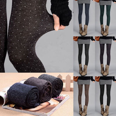 UK Fashion Women Thick Tights Knit Winter Pantyhose Tights Footed Stockings SH