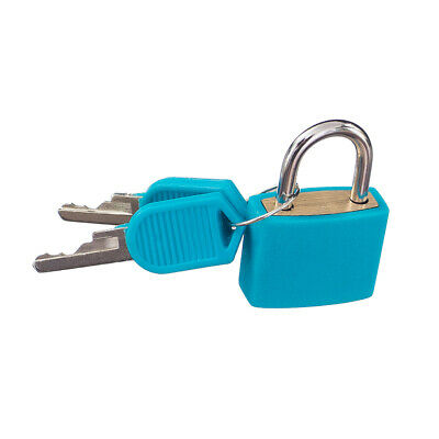Small Portable Padlock with Two Keys for Travel Luggage Suitcase - Blue