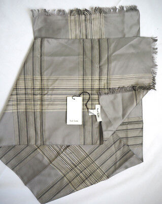 PAUL SMITH 100% silk grey scarf made in Italy NEW with tags