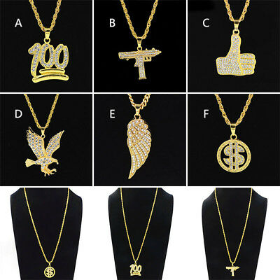 Mens hip hop pendant eagle gold plated wings thumbs up rope chain mens hip hop pendant eagle gold plated wings thumbs up rope chain necklace mozeypictures Images