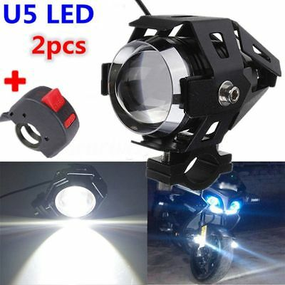 2x 125W U5 Motorcycle Bike LED Headlight Driving Fog Spot Light Lamp + 1 Switch