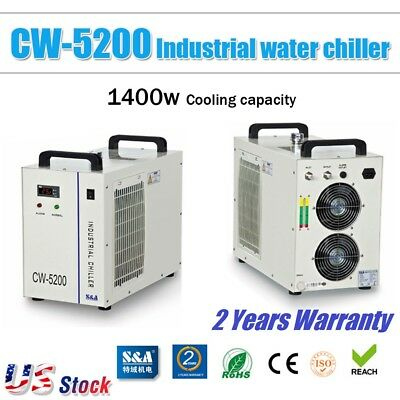 US S&A CW-5200BH Industrial Water Chiller for 130-150W CO2 Glass Laser Tube 220V