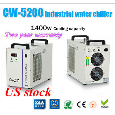 S&A CW-5200BH Industrial Water Chiller for 8KW Spindle /Welding Machine, 220V-US