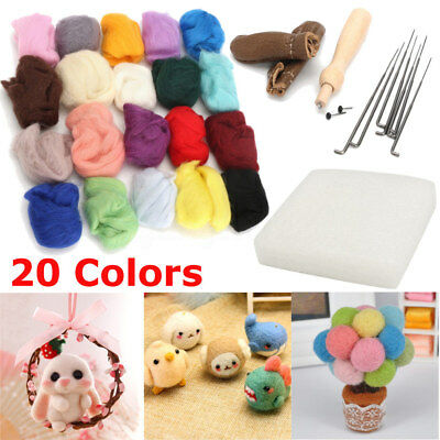 1 Set 20 Colors Wool Felt + Needles Tools Needle Felting Mat Starter Tool Kit