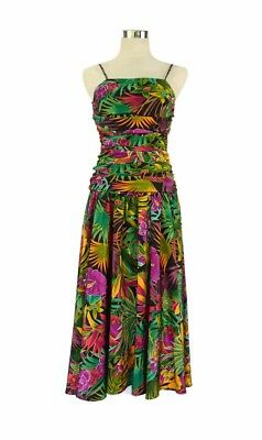 MASQUERADE Vintage Dress - Tropical Floral Orchid Black Green Purple Yellow - 6