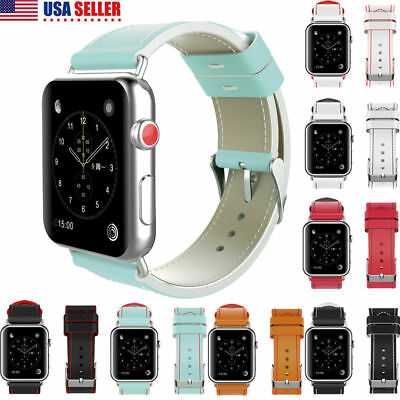 Genuine Leather Band Strap Watchband For Apple Watch iWatch 38/42mm Double Color