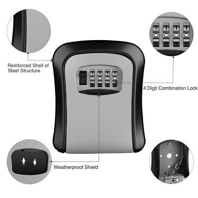 Wall Mounted Lock Box w/ 4 Digit Combination Key Storage Lock Box for House Car
