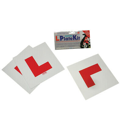 1 Oxford Motorcycle Scooter L Plate Kit Self Adhesive & Rigid 3 Plates OX171 - T
