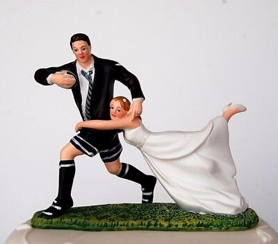 Rugby Playing Groom & Tackling Bride Humorous Couple Wedding Cake Topper RRP 30£