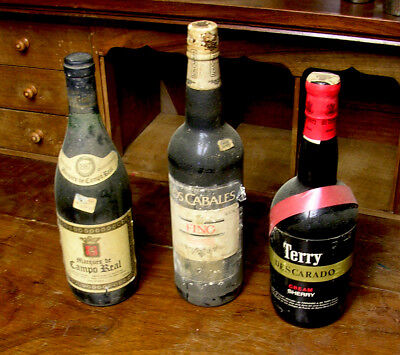 Collection Wine Spanish 3 Bottles Full. Rioja Marques Campo Real Terry & Fino.