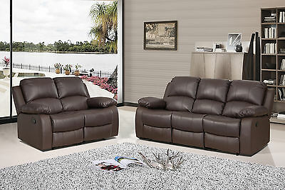 Luxury Valencia 3 2 Seater Bonded Leather Recliner Sofa Black Brown