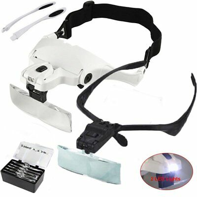 Head Magnifier with 2 LED Lights Magnifying Glass Hands Free LED Light Headband