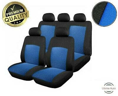 6 Pcs Full Blue-Black Fabric Car Seat Covers Set Universal Washable In Bag