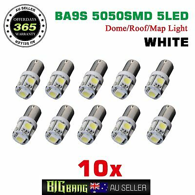 10x BA9S Bayonet 5-LED Auto Wedge Dome Map Interior Reading Plate Globes White
