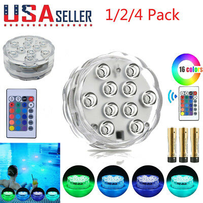 4X Swimming Pool Light RGB LED Bulb Underwater Color Changing Vase Decor Remote