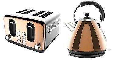 New 4 Slice Electric Toaster And Kettle Copper Kitchen Breakfast Set Quality