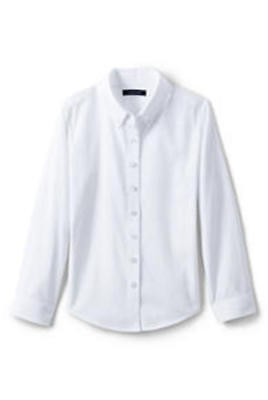 Lands' End Girls White Long Sleeve Blouse No Iron Uniform Shirts Long Sleeve 5