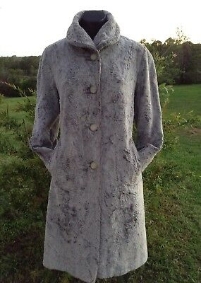 VINTAGE 1950s Faux Fur Coat Size 12 Grey FRANCES FAY Sydney, Made In Australia