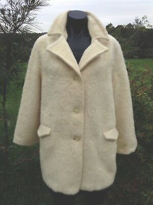 MADE IN ENGLAND Vintage 100% MOHAIR COAT 1950s Ivory Size 16 Luxury Wool Jacket
