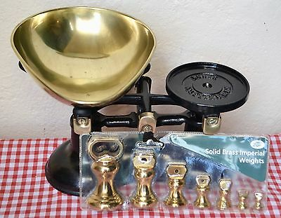 Vintage English Kitchen Scales Black Boots  7 Boots Brass Bell Weights