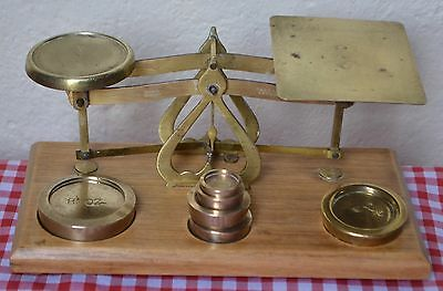 Vintage English Postal Scales  C1900 Brass And Polished Wood & 6 Brass Weights