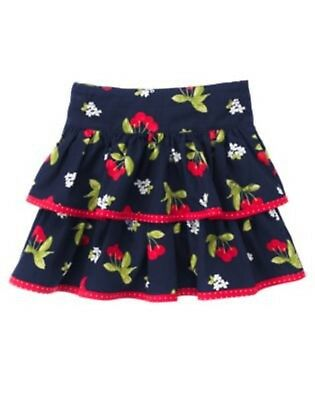 NWT Gymboree Cherry Cute Navy Print Skort/Skirt Adjustable Waist Sizes 5 & 7